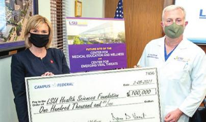 Campus Federal Credit Union donates $100,000 to LSU Health Shreveport Center