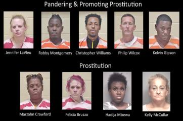 Undercover sting operation nets nine arrests for prostitution, pandering