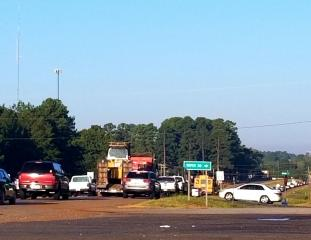 Traffic along Hwy 80 West in Haughton was backed up for miles, due to the added traffic being diverted, due to the closure of the westbound lane of Interstate 20.